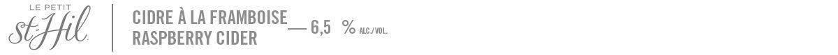 Le Petit St-Hil - cidre aux framboises